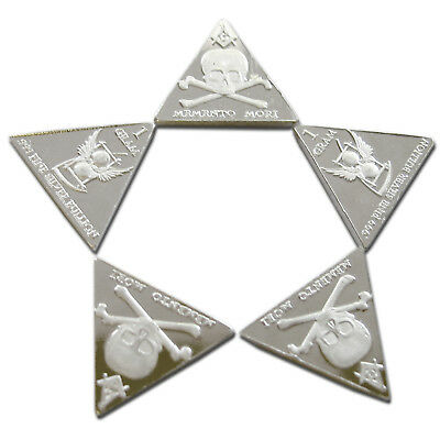 FIVE 1 Gram Silver Bullion Triangles Skull & Bones Mason .999 Fine Free USA Ship