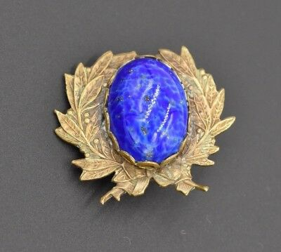 Vintage Bronze Pin Leaf Leaves Bright Blue Gold Shimmer Cabochon Stone Victorian