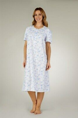 Ladies 100% Cotton Short Sleeve Floral Nightdress By Slenderella Style ND3206