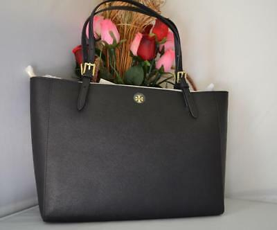 5216dad36cb AUTH NWT TORY BURCH YORK  Emerson Saffiano Leather Buckle Tote Bag In Black