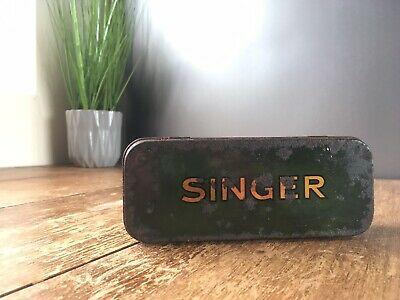 Antique / Vintage Green Singer Sewing Machine Attachments Accessories Tin Case