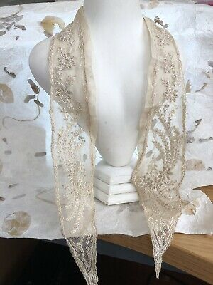 Antique Lace Collar French Tambour Cream Silk Tulle Floral Shawl Bridal Wedding