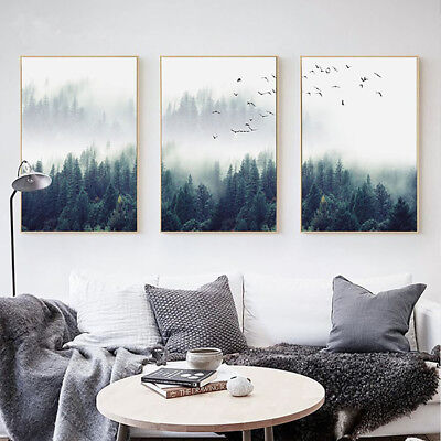 BU_ Nordic Foggy Forest Birds Unframed Canvas Painting Wall Bedroom Home Decor D