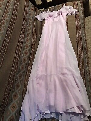 46450a94029 Vtg 70s JcPenney Womens PinkLavender Frilly Prom Dress Prairie Off Shoulder  Maxi