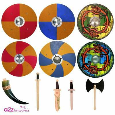 Top Quality Viking Wooden Weapon Shield Dagger Sword Norse Fancy Dress Accessory