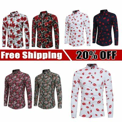 Men's Floral Casual Shirt Flower Printed Long Sleeve Dress Shirt Fashion JG