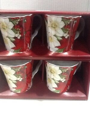 222Fifth Winter Harmony Christmas Poinsettia 4 New In Box Coffee Mugs