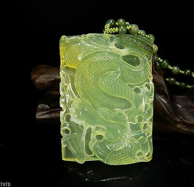 100% Natural Hand-carved Chinese Jade Pendant jadeite Necklace dragon 797d