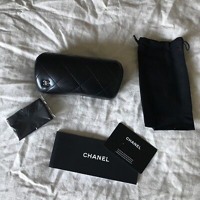 CHANEL Black quilted Sunglass case with pouch & Microfiber cloth