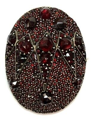 Victorian Antique Bohemian Garnet Vermeil Sterling Silver Scarab Mourning Brooch