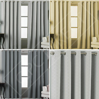 Pair of Plain Abstract Woven Embossed Blackout Thermal Eyelet Ring Top Curtains