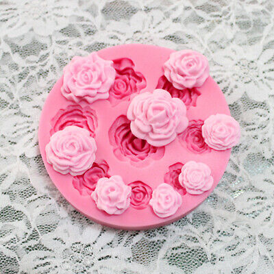 3D ROSE FLOWER Silicone Fondant Cake Mold Plant Leaf Chocolate Baking DIY Mould