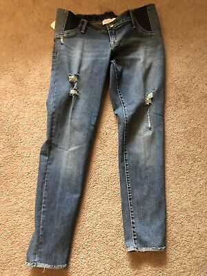 554e760327f39 Isabel Maternity Jeans 8 Medium Skinny Side Panel Stretch Distressed NWT
