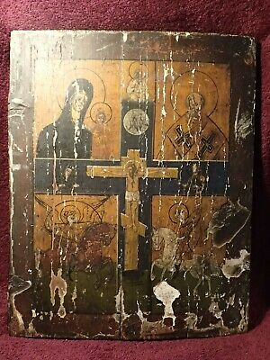 Antique Russia Russian Icon Painting On Wood , Original & Very Old