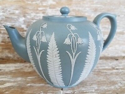 Rare Antique Wedgwood Jasperware Tea Pot Bell Flowers Fern Leaf Blue-Green Solid