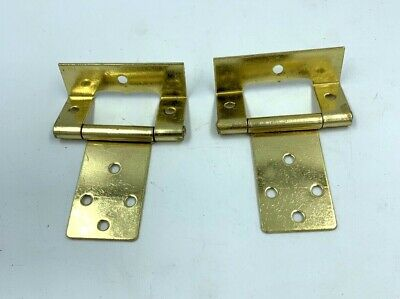 CRANKED HINGES 50mm brass plated easy hang flush hinge caravan cupboard 721