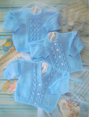Baby Boys Cable Cardigan Jumper KNITTING PATTERN Snuggly DK 16 -22in Sirdar 3839