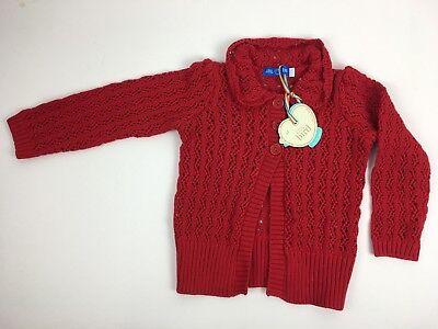 NWT Mothercare Little Bird bright red crochet cardigan 12-18 months knitted cute