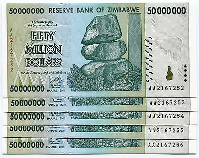 Zimbabwe 50 Million 2008 AA UNC P79 X 5 Banknotes Part of 100 Trillion Series