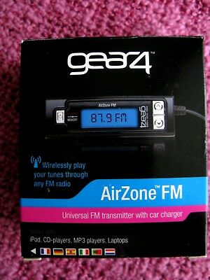 GEAR4 AIRZONE FM UNIVERSAL FM TRANSMITTER with car charger. NEW.