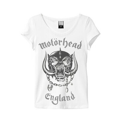 Motorhead 'England' Womens T-Shirt (White) - Amplified Clothing- NEW & OFFICIAL