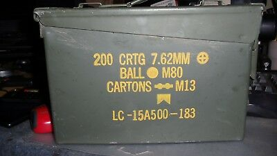1 US Military Issued 30 cal M19a1 Ammo Can Box 7.62mm Caliber Surplus.