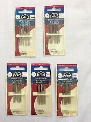 LOT 5 DMC 1-5 Embroidery Hand Needles