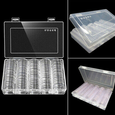 UK 100Pcs 27mm 30mm Coin Cases Capsules Holder Clear Plastic Round Storage Box