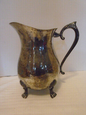 Vintage Leonard Silver Plated Footed Water Pitcher Jug With Ice Catcher