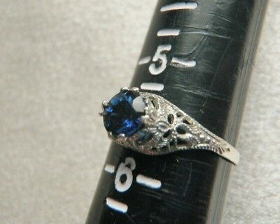 Rarest Antique Ostby Barton 10K White Gold Blue Sapphire Solitaire Ring  Sz 5.5