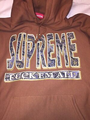 Supreme Paisley F*ck Em All Hoodie RUST BROWN XL Box Logo Dead Stock Rare FW17