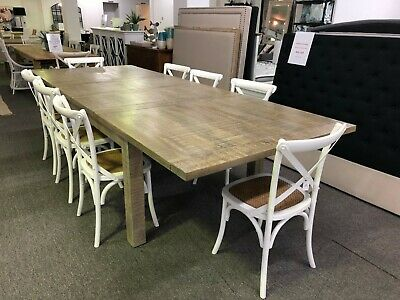 Hamilton Hamptons Style White Wash Extension Dining Table + 8 White Noosa Chairs