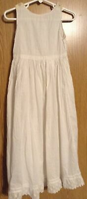 Vtg Little Girls Cotton Slip Tucks Eyelet Lace Hem Button Shoulders Costume