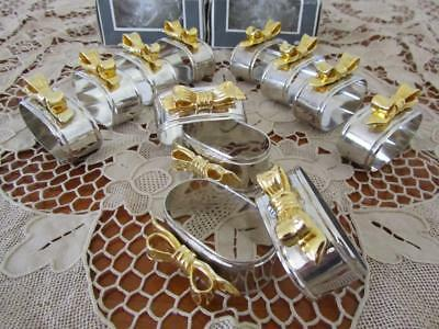 BOXED Lot 12 Vintage Queen Victoria SILVER PLATE NAPKIN Holder RINGS Gold Bows