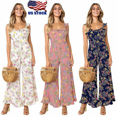 Womens Sleeveless Floral Jumpsuit Rompers Summer Long Pants Trousers Playsuit US