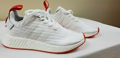 521c724a1c2bc NEW adidas Mens NMD R2 Primeknit Running Shoes White Red Size 6 BA7253