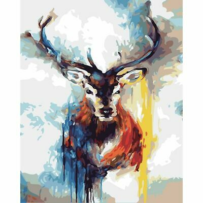 Animal Abstract Colored Deer Drawing By Numbers Frameless Picture Oil Painting