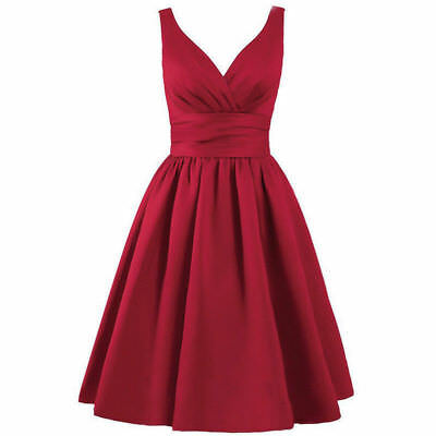 Wine Red Lace-Up Short A-line Satin Dress Formal Evening Party Cocktail Goth 10