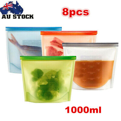 8 x Reusable Silicone Food Bags Freezer Safe Kitchen Storage Bag Food Container
