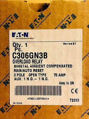 NEW Cutler Hammer C306GN3B Manual/Auto Reset Overload Relay 75A