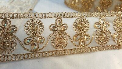 6cm Stunning antique gold lace trim for designing sewing arts crafts 1 metre