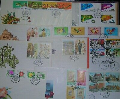 Postage stamps commemorative covers  incl Hong Kong and Thailand good cond.