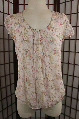 3bc6ca1cea3d92 GIUSY Short Sleeve Silk Top Sz Small Pink Multicolor Floral Boho Italy Made