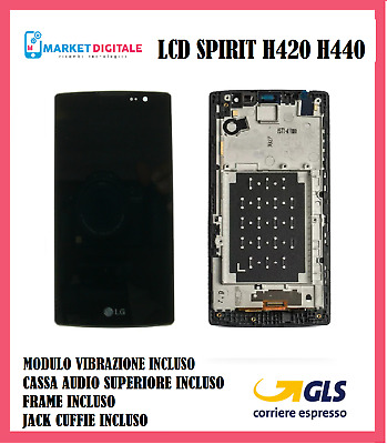 Lcd Display +Touch Screen+Frame  Lg Spirit H420 H440 Nero