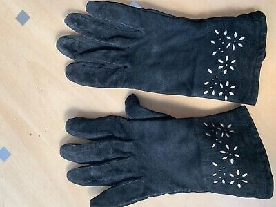 A pair of Black Suede vintage 1960's gloves