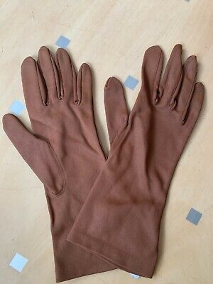 A Pair of 1960's Vintage Brown Nylon  Gloves