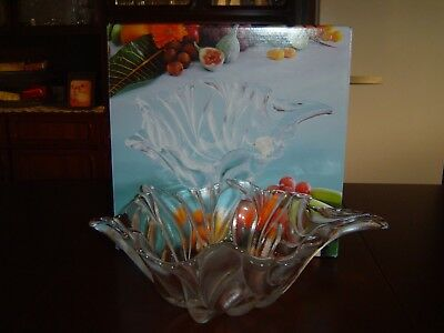 Beautiful Crystal German Made Walther Glas Fruit Bowl Never Used In Original Box