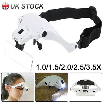 Head Magnifier 2LEDs Lights Magnifying Glass Handsfree Lamp Headband Optivisor