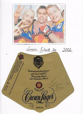 2002 Simon Black ~ Afl Brownlow Medal~Hand Signed Limited Edition Beer Label