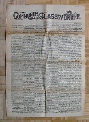 "uralte ZEITUNG aus USA ""THE COMMONER and GLASSWORKER"" 23.Mai 1896 /DN349"